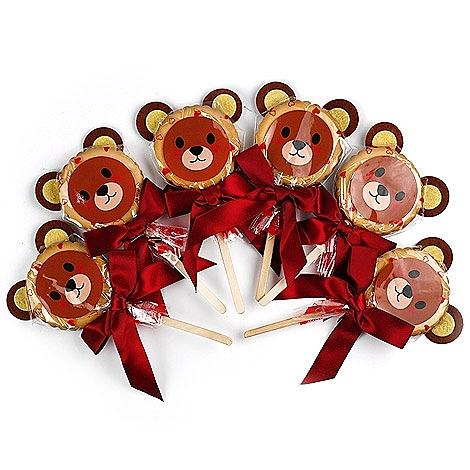 幸福婚禮小物❤婚禮熊麥芽餅棒棒糖---1組10入❤迎賓禮/二次進場/送客禮/送客喜糖/活動糖果