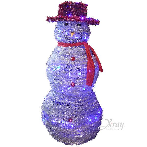 節慶王【X170001】LED發光摺疊雪人(紅帽),聖誕樹/LED燈/聖誕燈/裝飾燈/造型燈