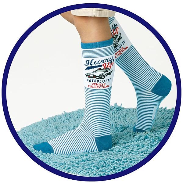 [韓風童品]男寶寶高筒襪 兒童棉質襪 工程車圖案 運動襪     男童高筒襪