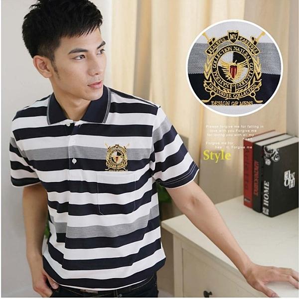 【大盤大】(P57108) 男立領上衣 M號 橫條紋短袖口袋POLO衫 台灣製 MIT 黑白 網眼透氣休閒 繡花