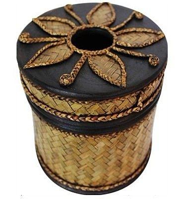 泰國復古竹編圓紙巾筒