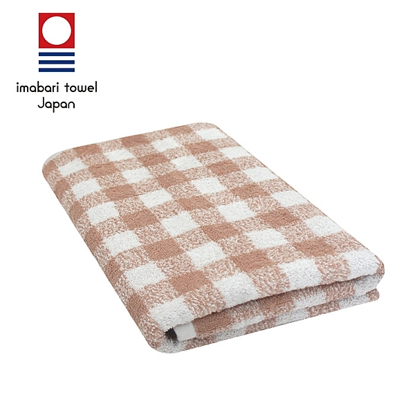 【日本今治毛巾】純天然有機棉無染色浴巾(方格-粉藕紅)