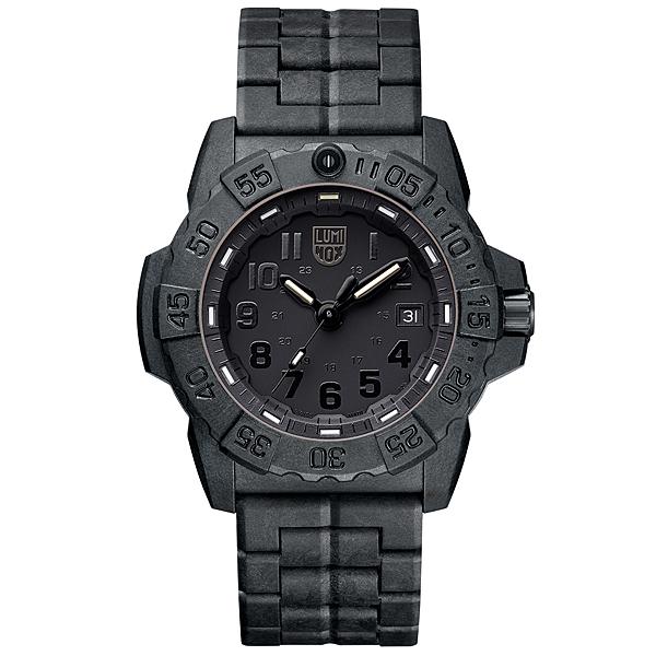 LUMINOX 雷明時 NAVY SEAL 3500海豹2代碳纖維鏈帶腕錶 消光黑x黑時標 45mm A3502.BO