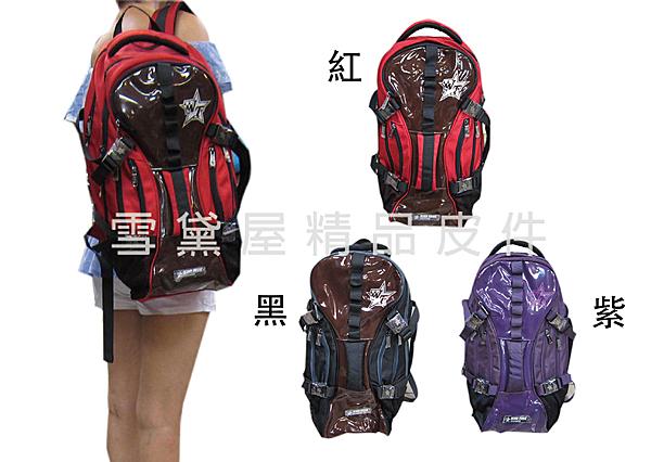~雪黛屋~WIND-TOOK 後背包大容量二層主袋可放A4資料夾14吋電腦防水尼龍布+防水鏡面HWT0008