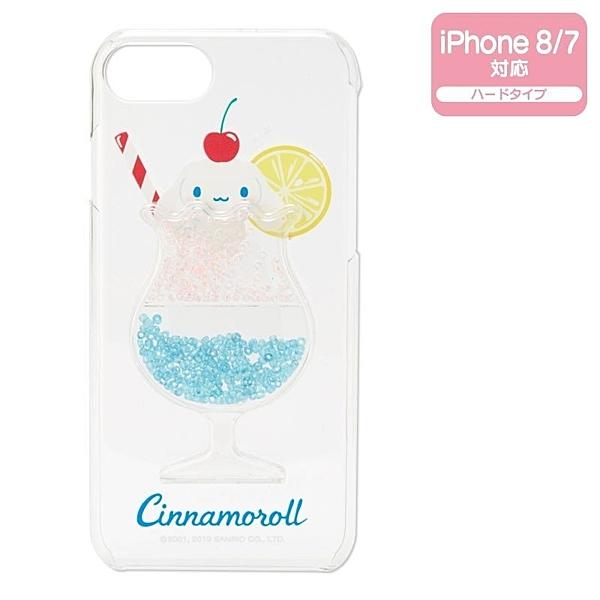 〔小禮堂〕大耳狗 iPhone 7/8 透明流沙半包式手機殼《綠粉.飲料杯》裝飾殼.保護殼 4901610-44182
