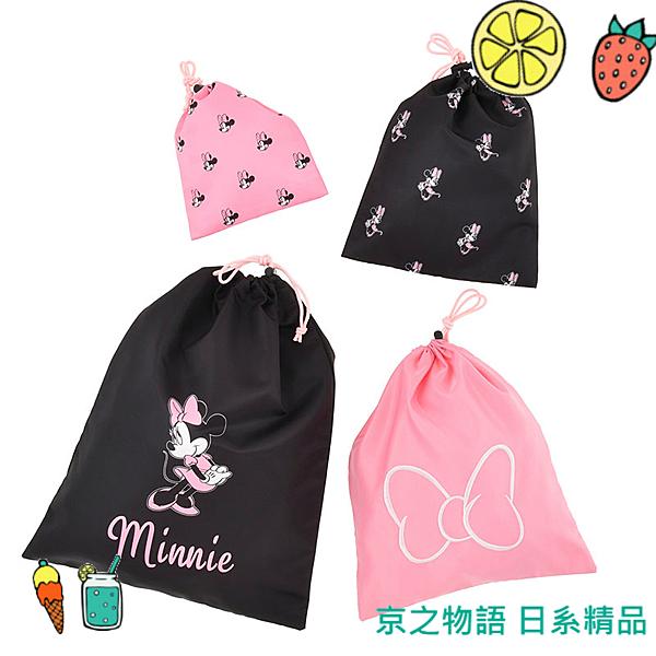 【京之物語】日本迪士尼商店米妮粉嫩束口袋 四種尺寸入 旅行 健身 現貨