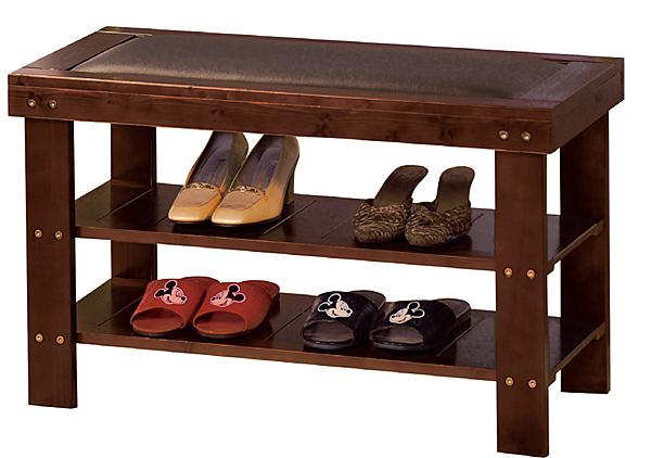 【 IS空間美學】豐采皮面實木穿鞋椅