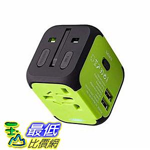 [美國代購]  一體化全球旅行充電器 適合美國EU UK AU約152個國家 雙USB和安全保險絲 (綠色)
