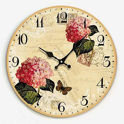 復古靜音鐘錶 繡球花