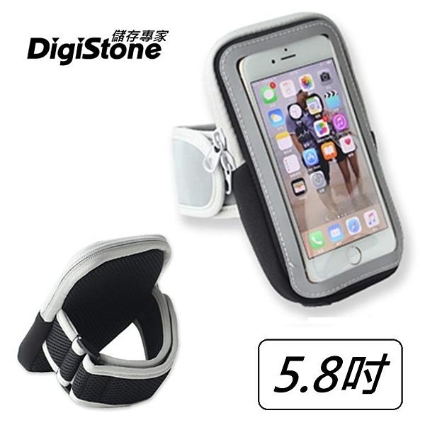 ★現折100元+免運費★DigiStone 5.8吋手機運動臂包/臂帶/可觸控/耳機孔(適5.8吋以下手機)-黑x1P