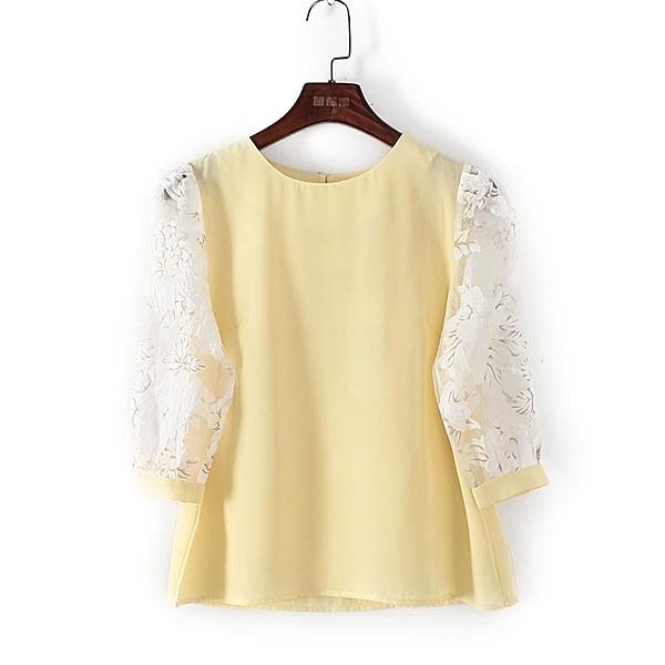 [超豐國際]麥春夏裝女裝黃色甜美拼接顯白襯衫 44251(1入)