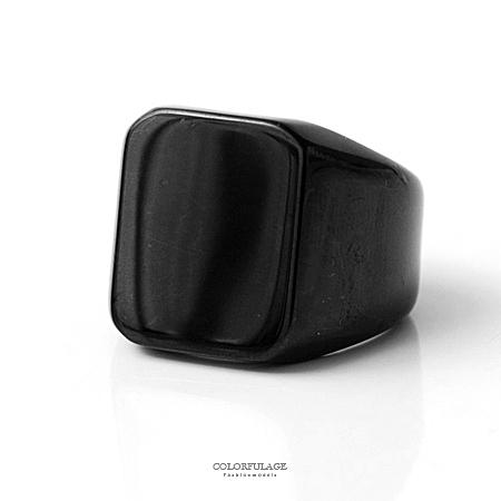 戒指 霸氣全黑系素面寬版方型白鋼製造型戒指 個性流行款單品【NC194】抗過敏抗氧化