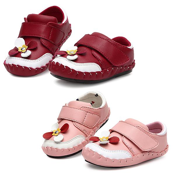 【Kidsfam】小花朵黏貼嬰兒幼童學步真皮鞋-粉色紅色兩色全尺碼