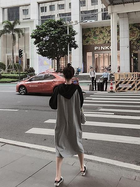 春秋新款中長款寬鬆bf慵懶風韓版連帽過膝長袖衛衣女裙潮ins 亞斯藍