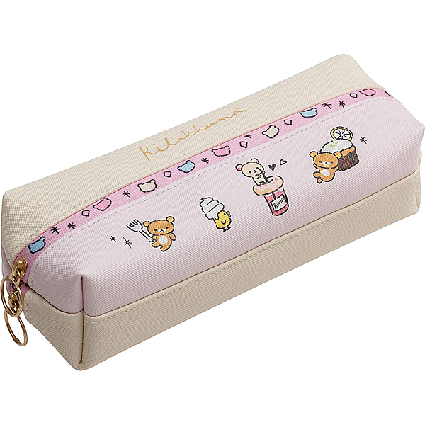 San-X 皮革製雙層雙拉鍊筆袋 化妝包 RILAKKUMA拉拉熊 甜點 粉_XS73752