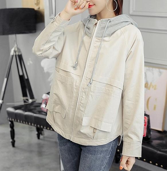 FINDSENSE品牌 秋季 新款 韓國 氣質 寬鬆 顯瘦 長袖 夾克 連帽風衣