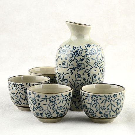 陶瓷青花日式和風|酒盅5件套(一套)