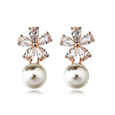 耳環 玫瑰金 925純銀水晶-精緻耀眼生日情人節禮物女飾品3色73gs60【時尚巴黎】