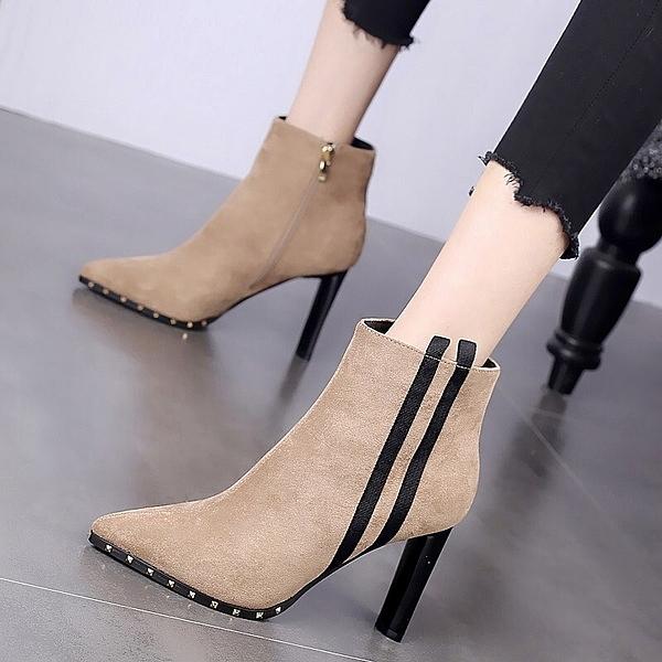 高跟鞋女粗跟2020新款百搭裸靴春秋款英倫短靴冬季瘦瘦馬丁靴加絨