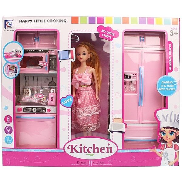 娃娃 + 廚具組 818-139(內附電池)/一盒入{促700}一般娃娃 芭比娃娃-CF138259