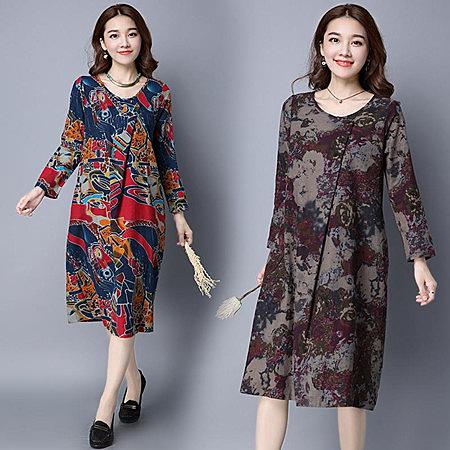 ※現貨 寬鬆復古印染不對稱棉麻連身長裙/洋裝 紅L碼【B215069】