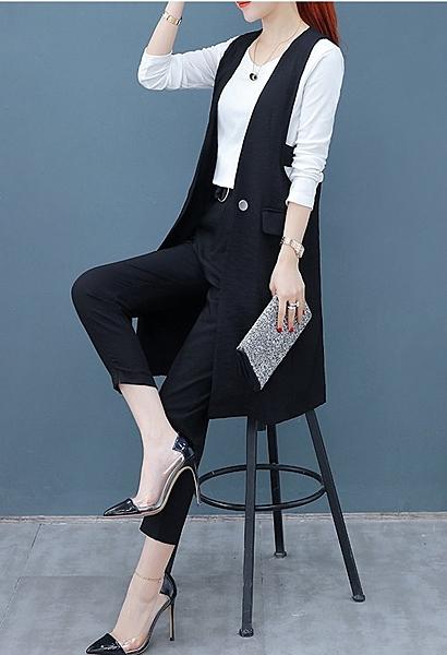 FINDSENSE品牌 秋季 新款 韓國 氣質 純色白色上衣+條紋馬甲+復古條紋