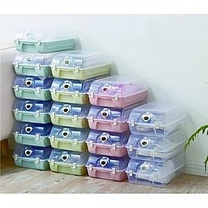 家居可疊式防塵透明收納蓋鞋盒-5入(顏色隨機出貨)顏色隨機出貨