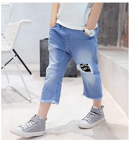衣童趣♥韓版中大男童 淺色系 刷破黑標籤 毛邊牛仔七分褲 帥氣百搭暢銷熱賣款 褲子