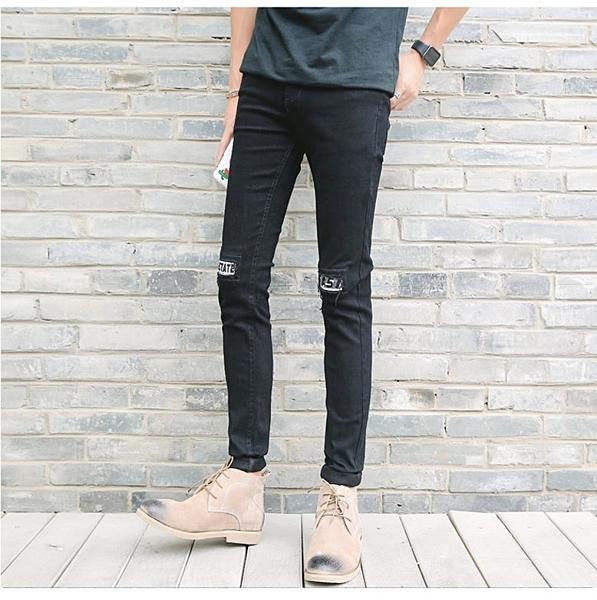 FINDSENSE品牌  韓國 潮品  字母刺繡黑色 白色小腳休閑牛仔褲男 破洞