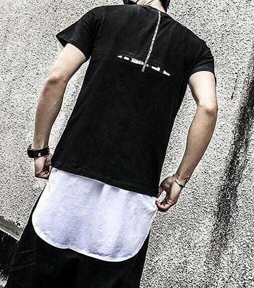 FINDSENSE品牌 時尚潮流 型男 酷 後背開叉 短袖T恤 特色短T