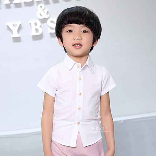 簡約純色棉麻短袖襯衫 童裝 翻領 襯衫 短袖襯衫