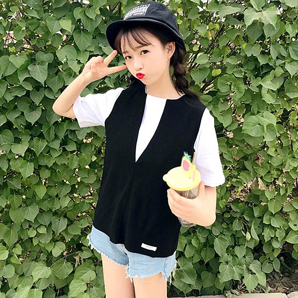 [超豐國際]時尚套裝女夏季軟妹寬松短袖T恤背心馬甲兩件套學生1入