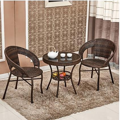 籐椅三件套陽臺戶外桌椅組合簡約休閒小茶幾單人庭院室外鐵藝騰椅LX 非凡小鋪 新品