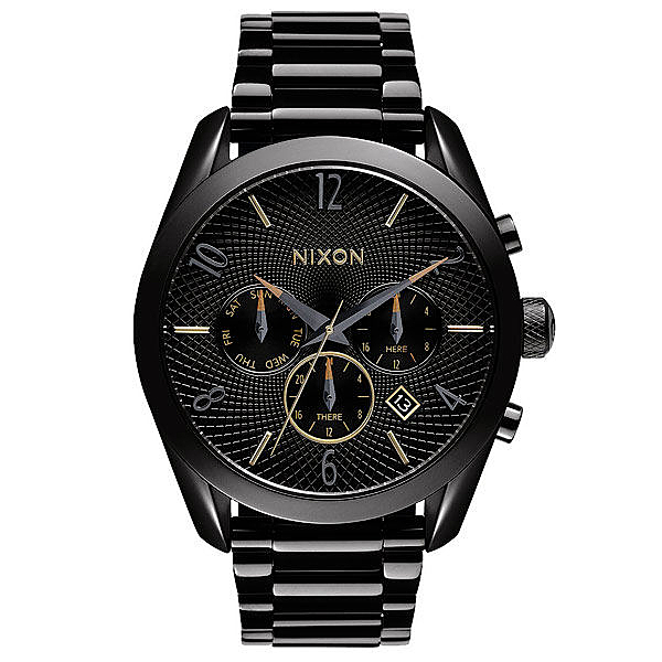 NIXON THE BULLET CHRONO先鋒計時網紋腕錶-黑