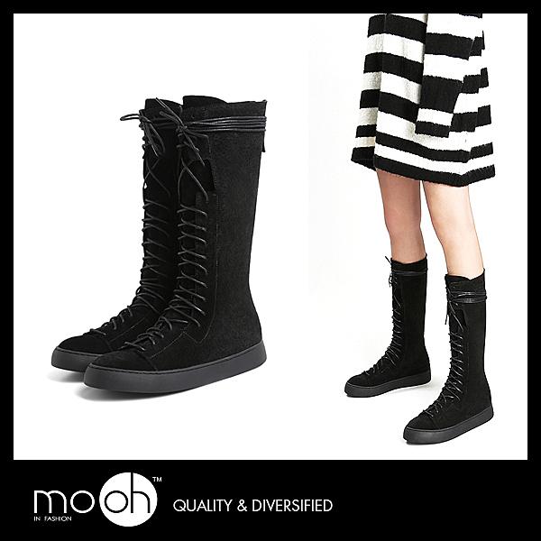長靴 後拉鏈 厚底 歐美真皮綁帶休閒長筒靴 mo.oh (歐美鞋款)