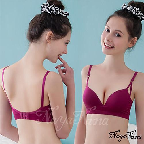 運動型內衣 【Naya Nina】深V三角提拉素色無鋼圈運動內衣(紫紅) 愛的蔓延 NA14360042