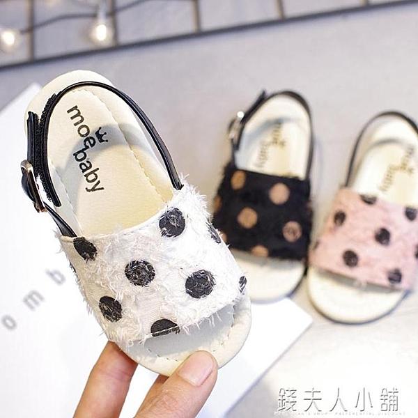 新款韓版可愛公主寶寶防滑小童中童軟底兒童女童圓點涼鞋 母親節禮物