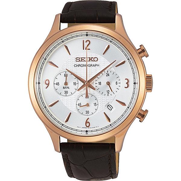 【台南 時代鐘錶 SEIKO】精工 沉穩紳士型三眼計時腕錶 SSB342P1@8T63-00M0K 玫瑰金/銀 43mm