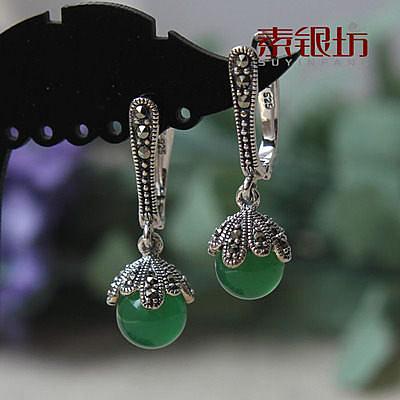 素銀坊~925純銀綠瑪瑙耳扣 (一對)