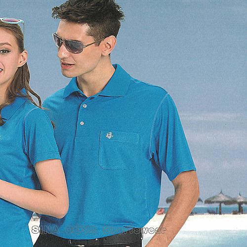 【義大利 SINA COVA】男女運動休閒吸濕排汗短POLO衫-海藍條紋#S8101A2