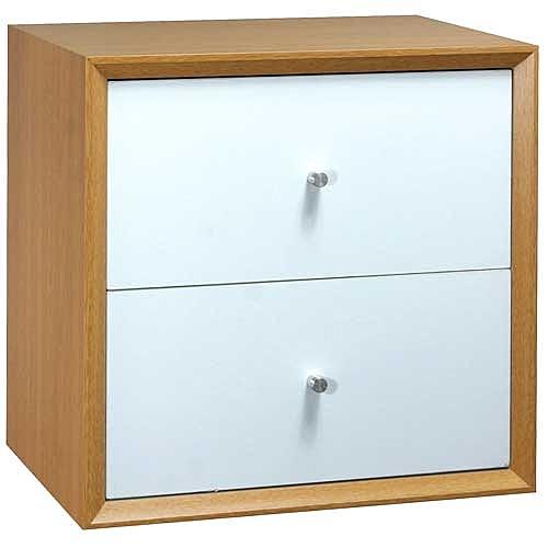 【藝匠】魔術方塊原木色小雙抽櫃收納櫃 家具 組合櫃 廚具 收藏 置物櫃 櫃子 小櫃子
