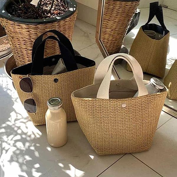 編織包 ins夏季清新田園風沙灘度假野餐大容量手提草編包泫雅風藤編織包