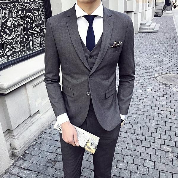 FINDSENSE H1 韓國兩扣 西裝 經典設計 灰色 修身西裝 三件套 套裝