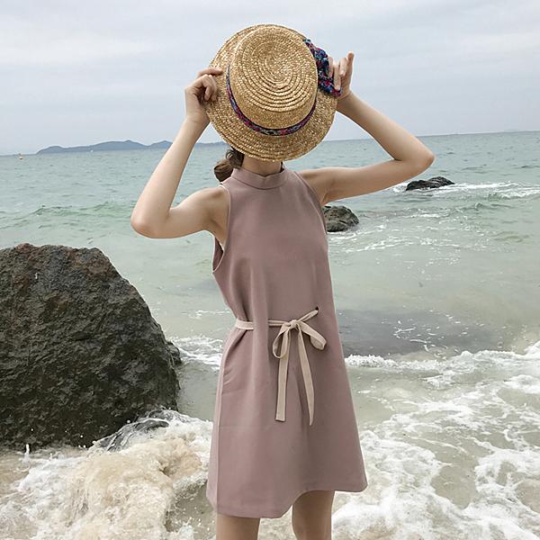 [超豐國際]夏季女裝無袖背心裙系帶收腰顯瘦A字裙中長款連衣裙1入