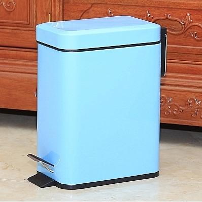不銹鋼垃圾桶腳踏家用衛生間客廳廚房【5L長方形藍色】