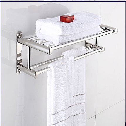 不鏽鋼浴巾架毛巾架 30/40cm 加厚衛生間廁所架酒店浴巾架置物架衛浴雙杆  快速出貨