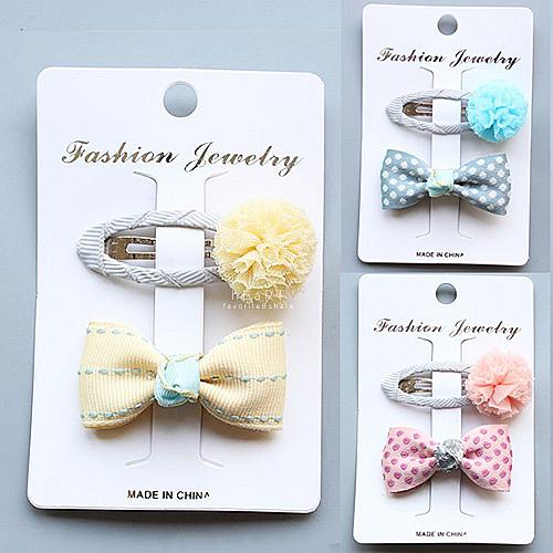糖果色紗球蝴蝶結髮夾套組 兒童髮飾 彩色蝴蝶結 紗球 髮飾套組