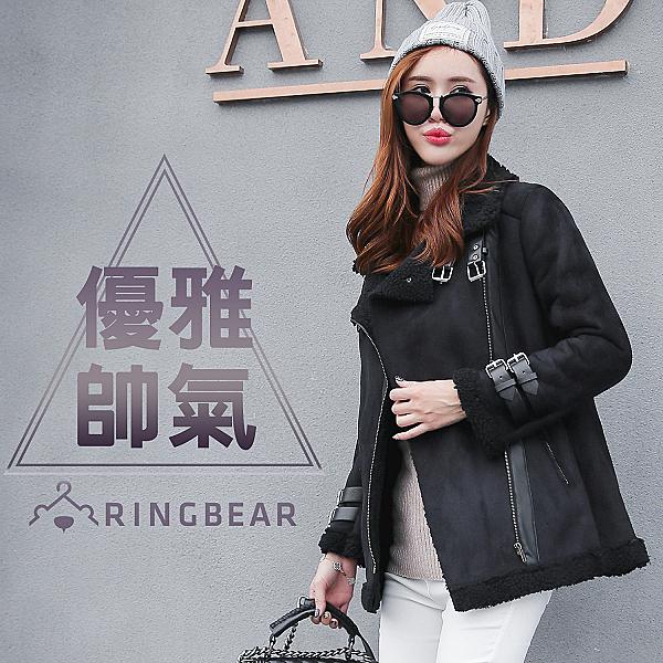 保暖--率性風格麂皮帥氣皮扣斜開拉鍊溫暖羊羔毛內裡外套(黑XL-3L)-J329眼圈熊中大尺碼