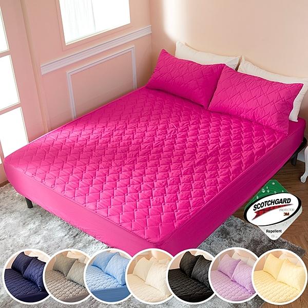 ↘ 加大 ↘ MIT台灣精製 透氣防潑水技術處理床包式保潔墊(側邊加高35CM)(桃紅)