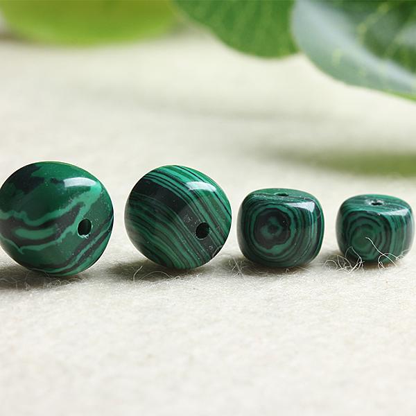 [超豐國際]DIY水晶飾品配件合成孔雀石鼓珠直通半成品手工飾1入